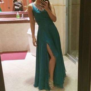 BLUE GREEN GOWN FOR RENT
