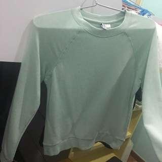 pastel cyan long sleeve top sweater