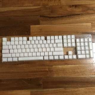 Translucent white keycaps