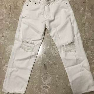 White High Waisted Straight Cut Ripped Jeans