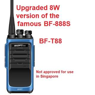8W Upgraded New Generation Baofeng BF-T88 Transceiver Walkie Talkie UHF: 400-480MHz Two Way Radio induding earpiece