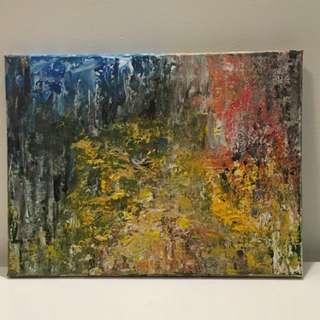 Acrylic painting -  gold fantasy landscape