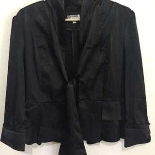 REPRICED! Chanel Black Satin Blazer Large