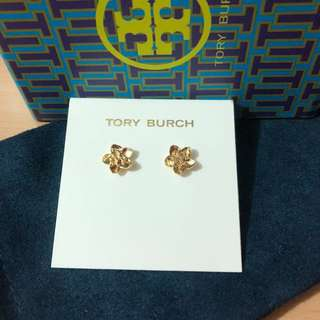 Tory Burch Flower Stud Earrings 花底金色耳環