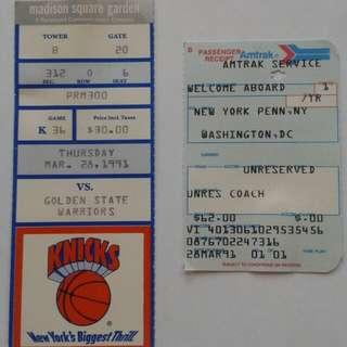 1991 Knicks game stub & Amtrak stub