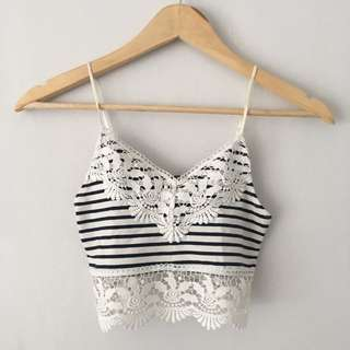 Topshop Crochet Trim Striped Bralet
