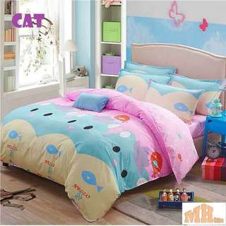 READY STOCK!! Quilt+queen fitted bedsheet set