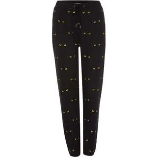 Zoe karssen Cat Eye Printed Jogging Bottoms in Black 近全新 貓眼 時尚運動褲 尺寸xs
