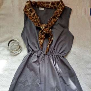 Garterized mini dress with tie
