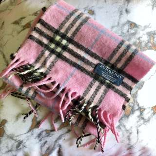 Burberry checked kid scarf 粉紅色格仔紋童裝頸巾