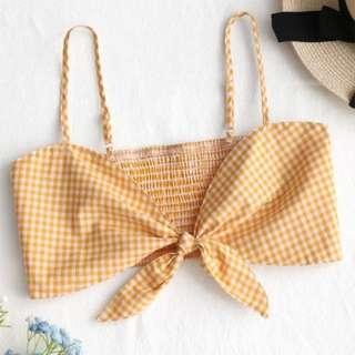 Yellow & White Checkered Cami Crop Top