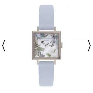 Olivia burton enchanted garden square dial watch