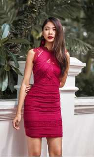 Laurel Lace Dress in Burgundy Red