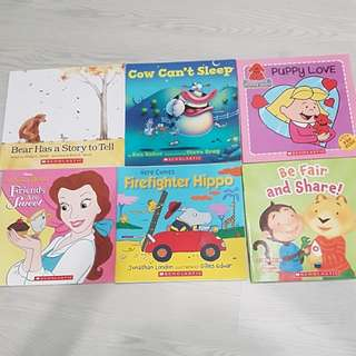 Scholastic English Story Books: 1. Bear Has a Story to Tell 2. Cow Cant Sleep 3. Puppy Love 4. Friends are Sweet 5. Firefighter Hippo 6. Be Fair & Share