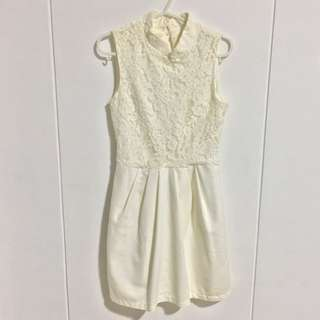 Cream Lace Cheongsam Dress