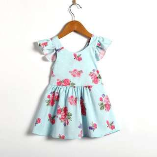 Red Flora Baby Blue Dress