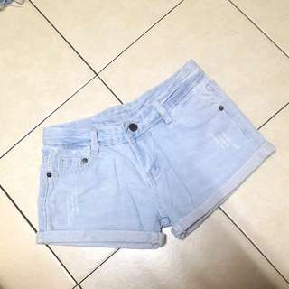 Light Wash Denim Blue Cuffed Shorts