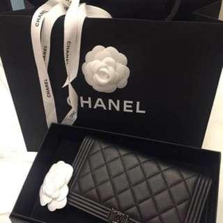Chanel boy扣 chanel long wallet 銀包