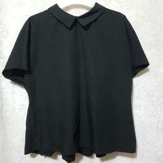 Zara black semi crop polo