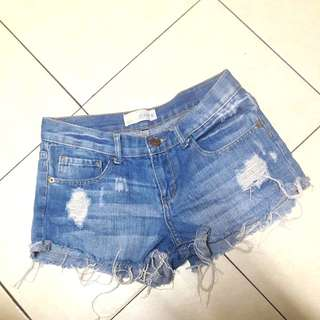 Cotton On mid-blue distressed ripped fringe shorts