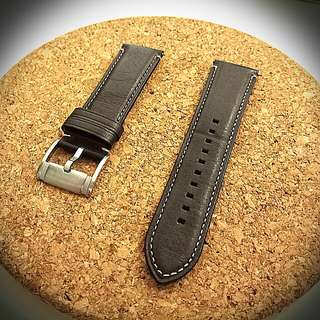 24mm/22mm dark brown genuine leather strap with quick release spring bars