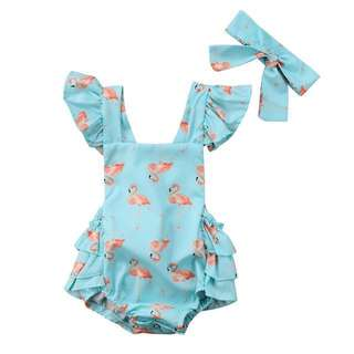 Flamingo Flutter Romper with matching headband