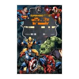 {DIGITAL ARTWORK} Superhero E invitation for birthday