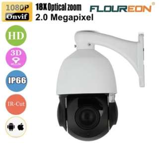 FLOUREON 1080P 4.7-84.6mm 18X ZOOM Waterproof CCTV Security IR-CUT PTZ Dome Outdoor IP Camera