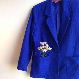 🚚 柏林古著👘秋冬羊毛墊肩套裝外套(寶藍) #新春八折