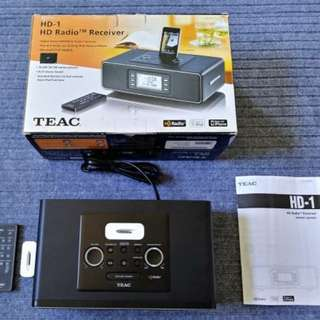 Teac HD-1 Clock Radio with iPod cradle and AM/FM HD Radio Receiver