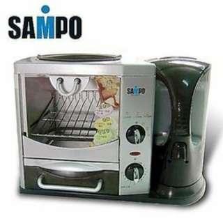 SAMPO聲寶活力早餐吧☕ 快煮壺、烤箱、烤盤三機一體, 家電…