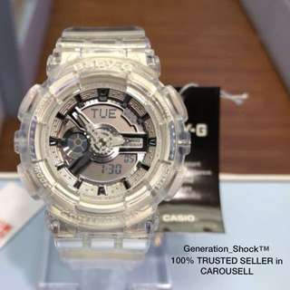 NEW🌟ARRIVAL in CASIO BABYG DIVER WATCH : 1-YEAR OFFICIAL WARRANTY: 100% ORIGINALLY AUTHENTIC BABY-G-Shock Resistant in CRYSTAL CLEAR JELLYFISH SURFING ABSOLUTELY TOUGHNESS Unisex & BEST GIFT For Most Rough Users : BA-110CR-7ADR / BA-110 / BA110CR