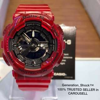NEW🌟ARRIVAL in CASIO BABYG DIVER WATCH : 1-YEAR OFFICIAL WARRANTY: 100% ORIGINALLY AUTHENTIC BABY-G-Shock Resistant in CRYSTAL CLEAR JELLYFISH SURFING ABSOLUTELY TOUGHNESS Unisex & BEST GIFT For Most Rough Users : BA-110CR-4ADR / BA-110 / BA110CR