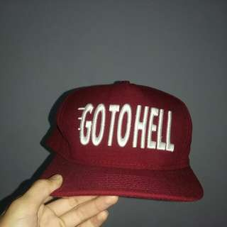 Hat 'Go To Hell' maroon by Crispy Duck
