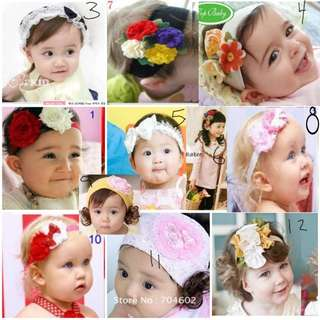 [Juniorcloset] 🆕 Flower headband Ribbon headband Beanie with fake hair Headband with fake ponytails Baby headbands Beanie wig