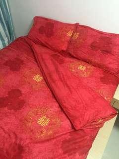 紅色雙喜龍鳳被套床單枕袋 #傳承幸福
