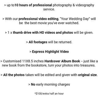 Actual day wedding photography + videography (10 hours)