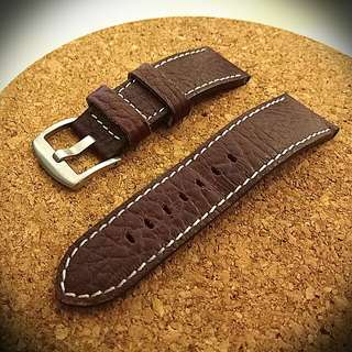 24mm/22mm reddish brown distressed leather strap