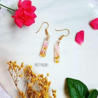 Real flower earrings