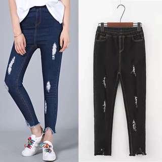 (XL~4XL) Women's stretch elastic waist broken jeans denim pants