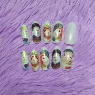 Artificial Nails with Rabbit Decals