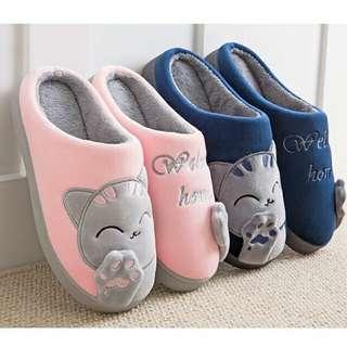 FEE HUG Plush Women Men Home Slipers Winter Warm Cartoon Cat Home Shoes Bedroom Flat Indoor Loves Couple Floor Shoes