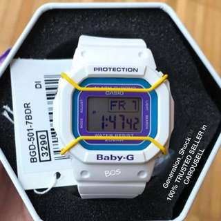 RARE🌟SEEN CASIO BABYG 200m DIVER WATCH : 1-YEAR OFFICIAL VALID WARRANTY: 100% Originally Authentic BABY-G-SHOCK Resistant In SUPER ILLUMINATOR LIGHTS Best Gift For Most Rough Users & Unisex too : BGD-501UM-7BDR / / DW-5600