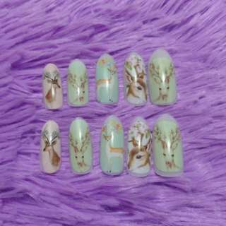 Artificial Nails with Pastel Deer Decal