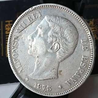Alfonso Xii 5 pesetas original silver coin, Large size coin, Silver coin