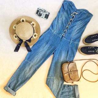 H&M Denim bustier jumpsuit