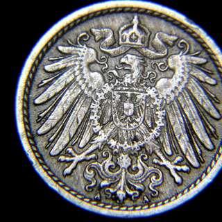 1892年德意志帝國大鷹國徽5分寧鎳幣(德皇威廉二世時期)