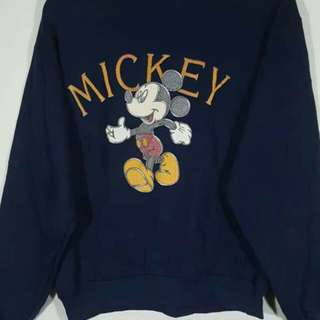 Vintage Mickey Mouse Big Logo Embroidery Sweatshirts