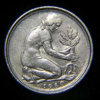 1980年德意志聯邦共和國(西德)植樹圖50分寧鎳幣