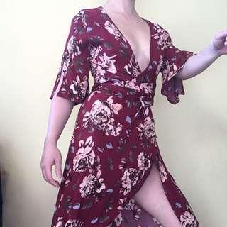 Showpo Burgundy Maroon Wine Red Flower Kimono Style Dress Size 14